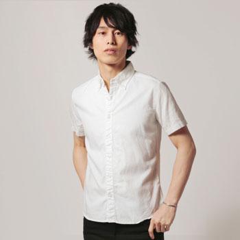 日本製シャーリングボタンダウン半袖シャツ