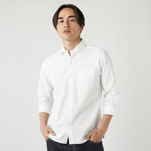 UpscapeAudience/日本製ワイドスプレッド7分袖シャツ