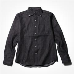 Upscape Audience/日本製麻混デニムワイドスプレッドシャツ