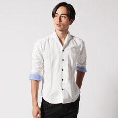 オックスフォード イタリアンカラー 長袖シャツ