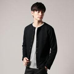 日本製ヘビーウエイト裏毛クルーネックスナップジャケット