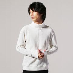 日本製BOROライクランダムワッフルタートルネックカットソー