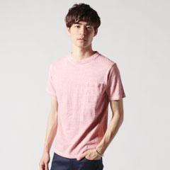 日本製吊編天竺オーバーラップクルーネックグラスポケ付きショートスリーブTシャツ