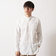 Upscape Audience/日本製タイプライターバンドカラーオーバーサイズ長袖シャツ