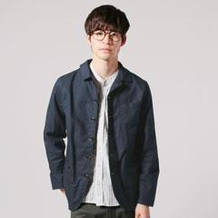 日本製綿麻ムラ糸サージドライビングジャケット