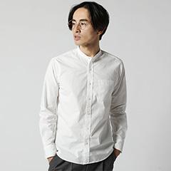 Upscape Audience/日本製オックスバンドカラーシャツ