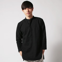 Upscape Audience/日本製ソフトリネンバンドカラーオーバーサイズPOシャツ