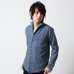 Buyer's Select/デニムイタリアンカラー長袖シャツ