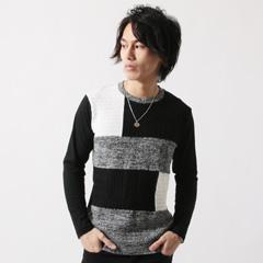 Buyer's Select/前身配色編み替えニット長袖カットソー