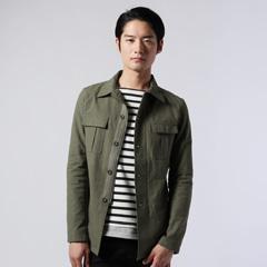 Buyer's Select/綿麻ストレッチミリタリーシャツジャケット