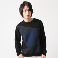 SLICK/日本製マーブルヴィンテージパッチワーククルーネックカットソー