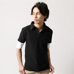 Buyer's Select/タックボーダー半袖ポロシャツ