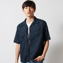 Upscape Audience/日本製綿麻キャンバス5分袖シャツ