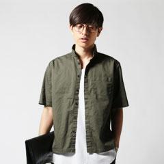 Upscape Audience/日本製コットンギャバジンスモールカラーシャツ