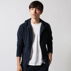 Upscape Audience/日本製コットンパイルフードZIPジャケット