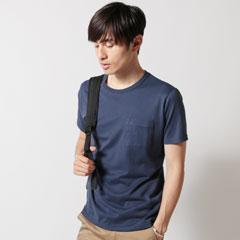 Upscape Audience/日本製コーマ天竺半袖クルーネックグラスポケットS/STEE