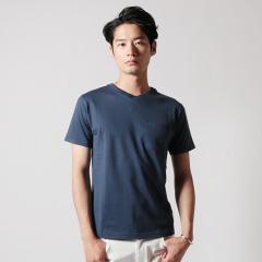 Upscape Audience/日本製コーマ天竺ツートーンVネック半袖Tシャツ