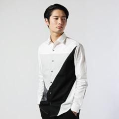Buyer's Select/日本製切り替えブロッキングブロード長袖シャツ