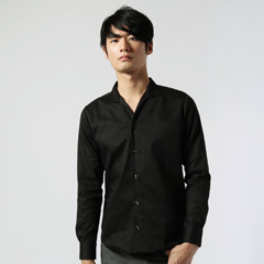 Buyer's Select/日本製グレンチェックイタリアンカラー長袖シャツ