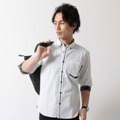 Buyer's Select/リバーシブルストライプフロントデザイン7分袖シャツ