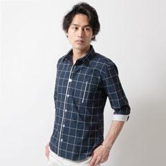 Buyer's Select/ウインドペンチェックフロントアクセント7分袖シャツ