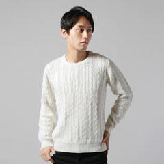 7GG綿カシミアケーブル編クルーネック長袖ニット