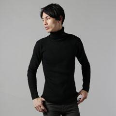 9GG綿カシミアリブ編みタートルネックニット