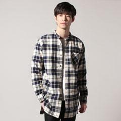 日本製フランネルチェックバンドカラーロングシャツ
