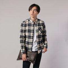 日本製フランネルチェックチビ襟LSシャツ
