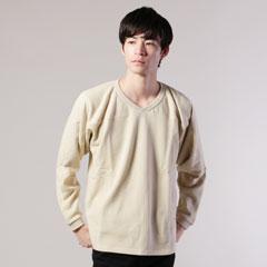 日本製スウェットVネックフットボール長袖Tシャツ