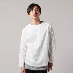 Upscape Audience/日本製コットンギャバジンサドルショルダーヘムラウンド長袖シャツ