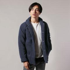 日本製ソフトタッチボアフリースショールカラースナップジャケット