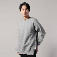 日本製サイドジップクルーネックコットン100%長袖スウェットフリース