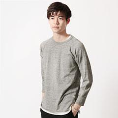 日本製吊り編み天竺ラグランスリーブカットソー