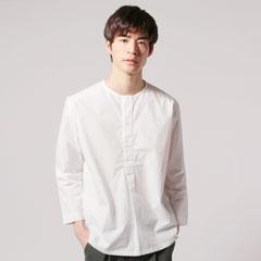 日本製コーマタイプライターヘンリー9分袖ラウンドカットシャツ
