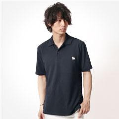 ドッグ刺繍鹿の子半袖ポロシャツ