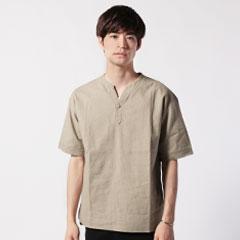 日本製ソフトリネンコットンキャンバスクルーネックスキッパーコンチョ釦5スリーブシャツ