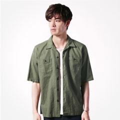日本製ソフトリネンコットンキャンバス5分袖開襟シャツジャケット