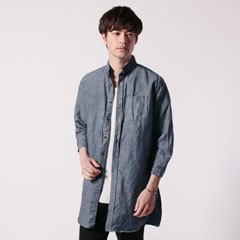日本製フレンチリネン綿麻ダンガリーローマシャツコート