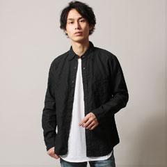 日本製Hardmansリネンチビ衿ボタンダウンロングスリーブシャツ