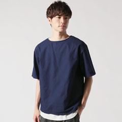 日本製コットンクロスビッグ5分袖シャツ