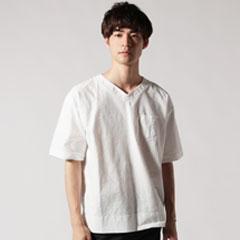 日本製コットンクロスVネックポケ付5スリーブシャツ