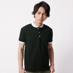 ラウンド襟半袖ポロシャツ