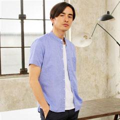 綿100%ブロード半袖/7分袖/長袖バンドカラーシャツ