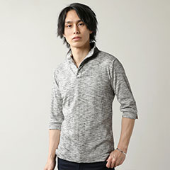 ランダムテレコスキッパー七分袖ポロシャツ
