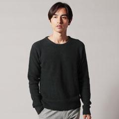 7GG編み杢コットンラーベンクルーネック長袖ニット