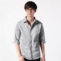 日本製フランス綾ドビーレギュラー七分袖シャツ