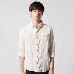 日本製ダブルガーゼフラップポケットボタンダウン七分袖シャツ