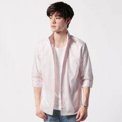 日本製ブロードスキッパーデザイン七分袖シャツ