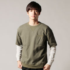 日本製天竺ガゼットポケット付き半袖ワッフルレイヤードTee